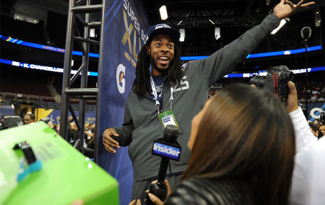 Richard Sherman cornerback for the Seattle Seahawks. Sherman has been very vocal in press conferences concerning his performance and the Super Bowl.