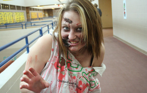 Senior Brooke Link is clad in full make-up as a zombie for fake injury day.