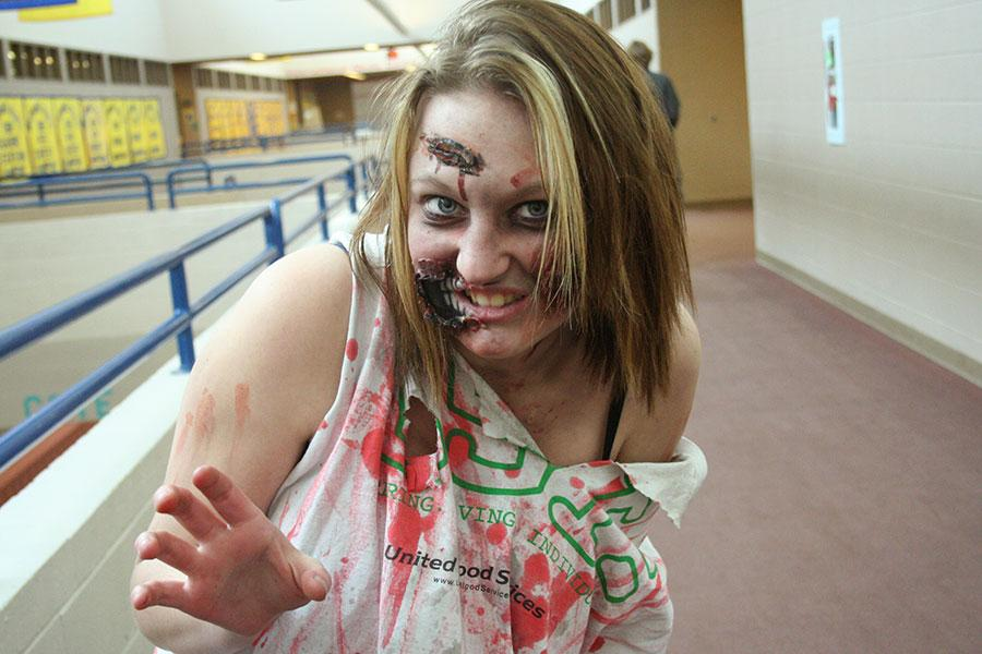 Senior+Brooke+Link+is+clad+in+full+make-up+as+a+zombie+for+fake+injury+day.+