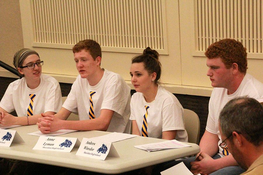 Juniors Andrew Windsor, Anne Lyman, Clayton Partridge, and Maya Gilmore rehearse their essay questions in preparation for state. This is the first time We The People have made nationals in six years.