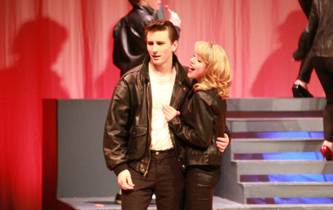 Danny (Trace Addlesperger) and Sandy (Mariah Olden) sing