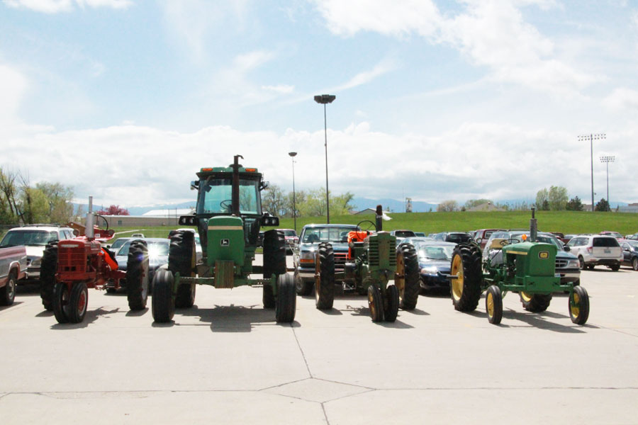 FFA students park their tractors in the SHS parking lot for the last day of school.