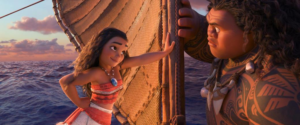 Moana (voiced by Auli'i Cravalho) and Maui (voiced by Dwayne Johnson)