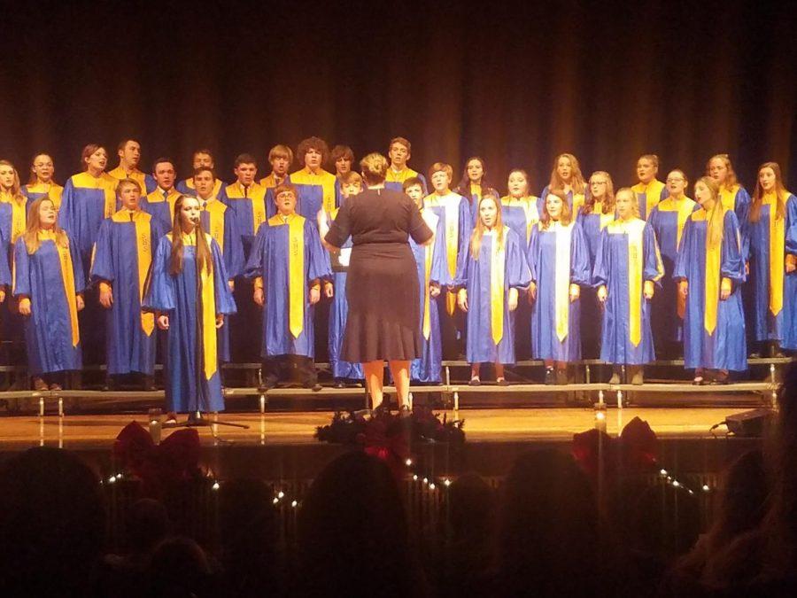 Choir teacher Ashley Lecholat directs the SHS choir during the concert. (Photo courtesy Leah Clark)