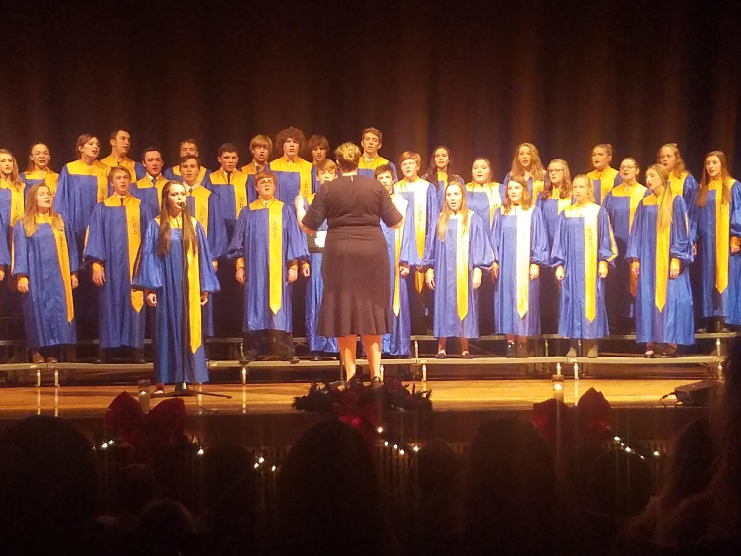Choir teacher Ashley Lecholat directs the SHS choir during the concert. (Photo courtesy Leah Clark)