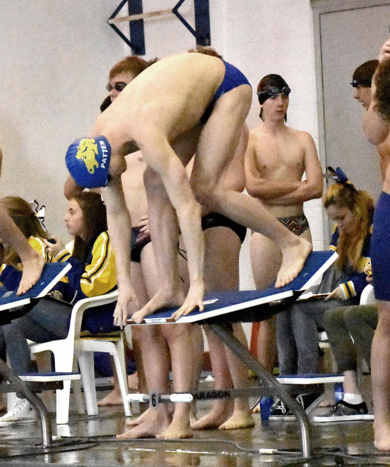 Patten takes his mark for one of his final races in the Sheridan Junior High School pool. (Photo Bailey Hanson)