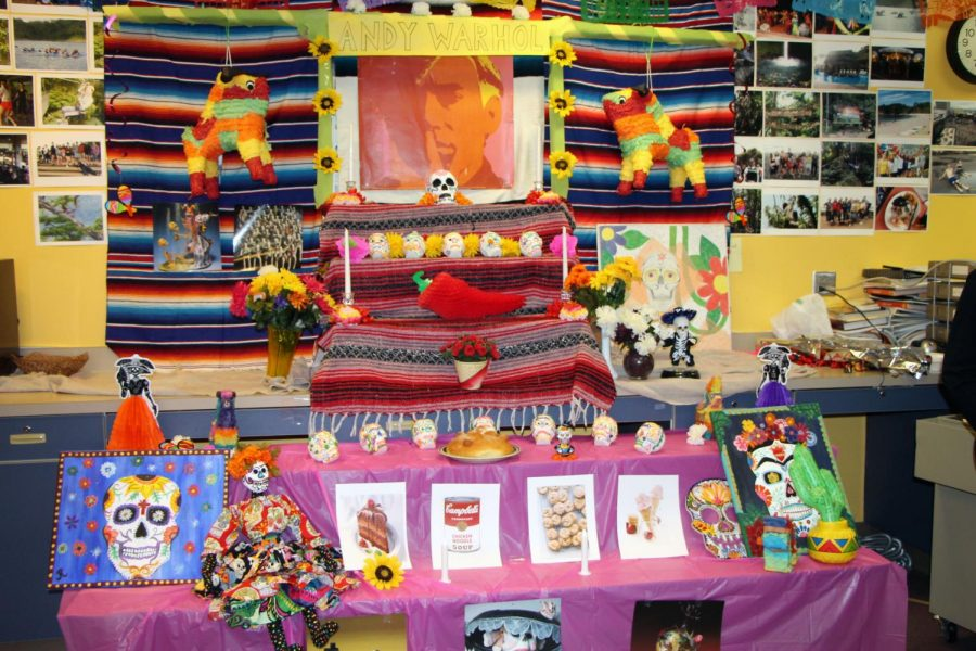 The Spanish classes set up an altar for Andy Warhol during their Day of the Dead celebration.