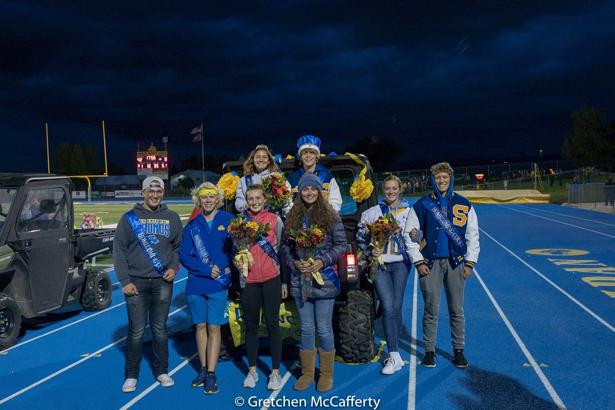 Homecoming Court front row; junior Zane Meyers, freshman Austin Akers and Sydni Bilyue, junior Julia Kutz, sophomores Jenna Sweeny and Reed Rabon. Back row; seniors Stephanie Gonda and Timothy Brown.