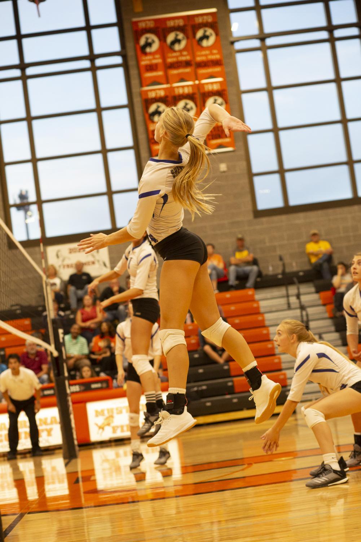 Senior Katie Ligocki jumps to strike the volleyball
