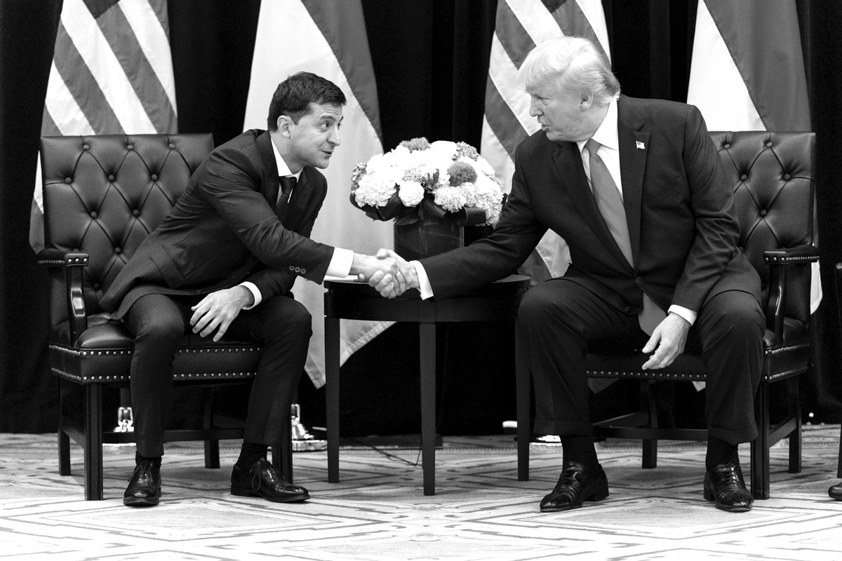 President Donald J. Trump participates in a bilateral with Ukraine President Volodymr Zelensky on 25 Sept. 2019 at the Intercontinental New York Barclay on New York City.