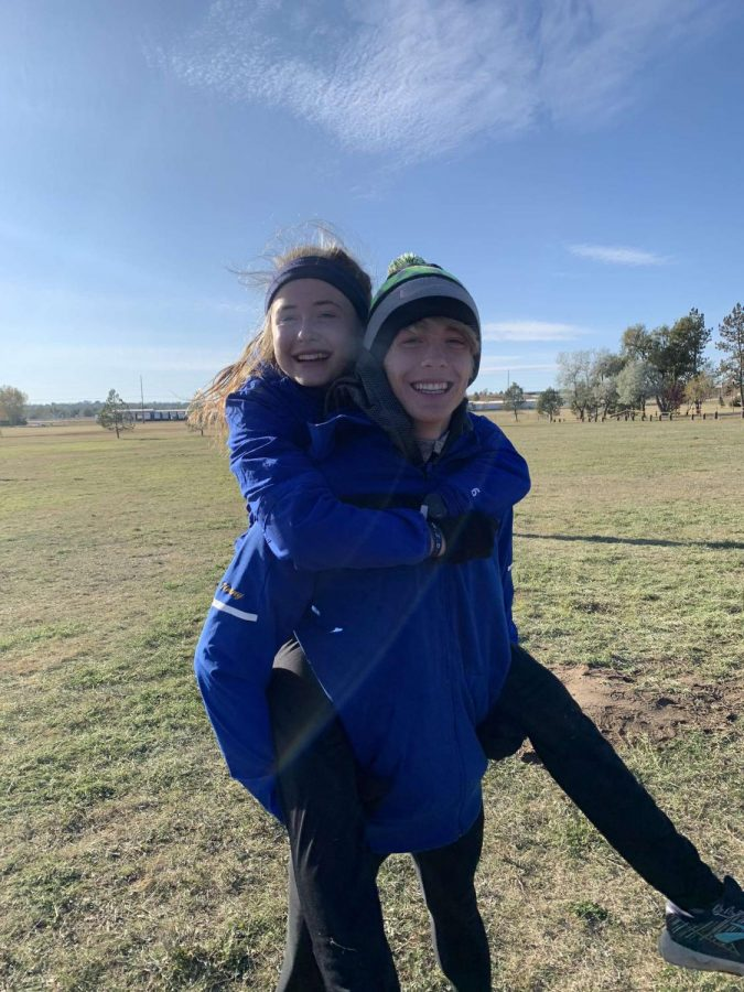 Timothy and Sylvia Brown together at the 2019 cross country conference championships.