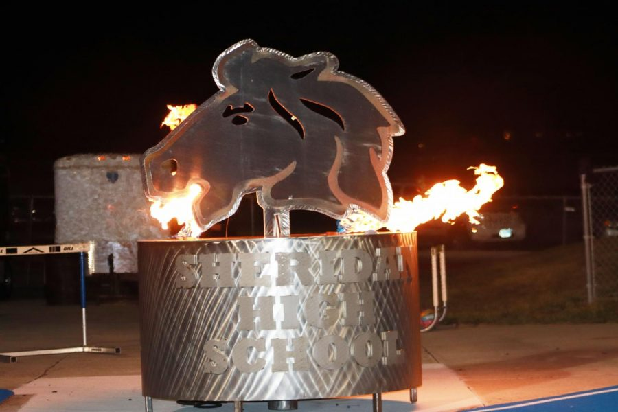 The SHS Bronc head was lit up with the fire the Wednesday before the homecoming game.